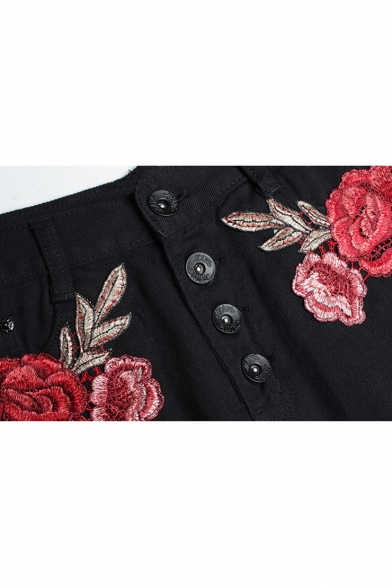 Summer's Chic Floral Embroidered High Waist Buttons Down Ripped Denim Shorts