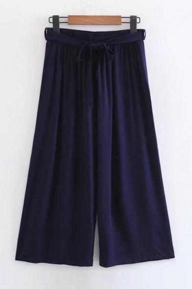 Elastic Waist High Rise Plain Loose Wide Legs Capris Culottes