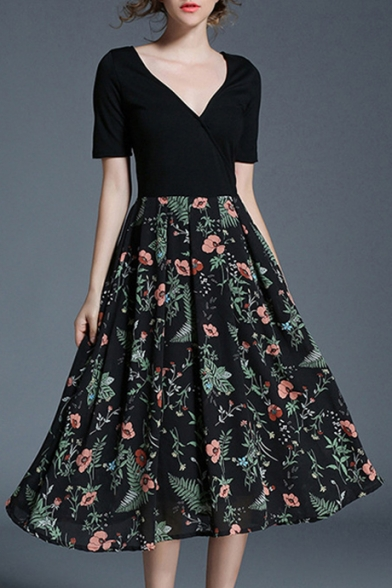 f65e89dd4e2f Fashion Floral Printed Plunge Neck Short Sleeve Midi A-Line Dress -  Beautifulhalo.com