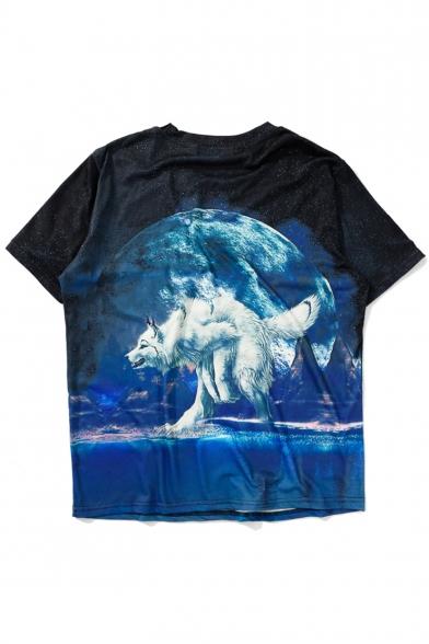 New Fashion Moon Wolf Animal Printed Round Neck Short Sleeve Loose T-Shirt