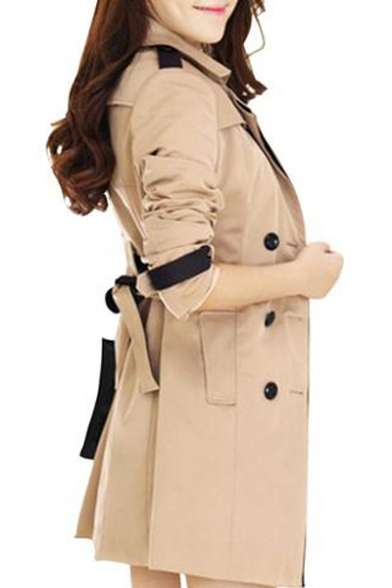 Notched Color Breasted Sleeve Long Double Coat Trench Collar Block Lapel rwg0Iqr