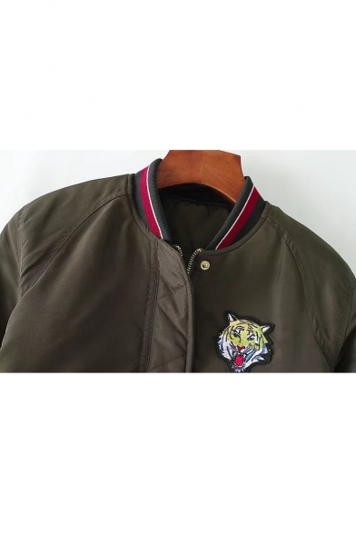 Tiger Head Patchwork Striped Trim Stand Up Collar Zip Up Cropped Bomber Jacket