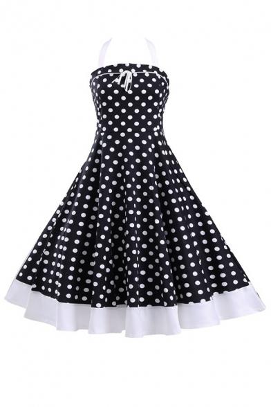 Sleeveless Fit Dress Pattern Flared Polka Neck Dot Halter Midi Vintage q70vzFXww
