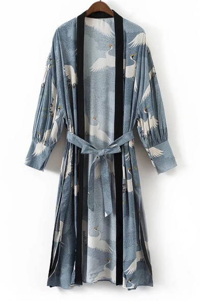 Crane Printed Open Kimonos Women's Sleeve Front Long Tunic Waist Belt pCwgnd