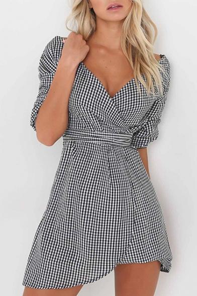 Fashion Plaid Color Block Half Sleeve Wrap V-Neck Belt Waist Asymmetric Dress