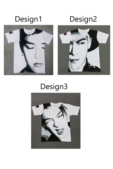 Hop Shirt Loose T Face Pattern Sleeve Neck Round Sketch Style Fashion Short Hip FwgdSqfS