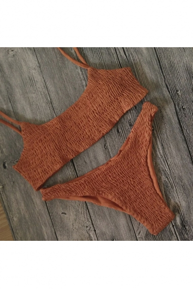 Fashion Spaghetti Bikini Hot Plain Straps Swimwear Hipster Bottom PwTdxR
