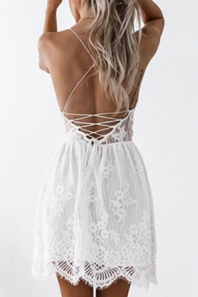 Hot Popular Crisscross Open Back Fashion Lace Inserted Mini Slip Dress