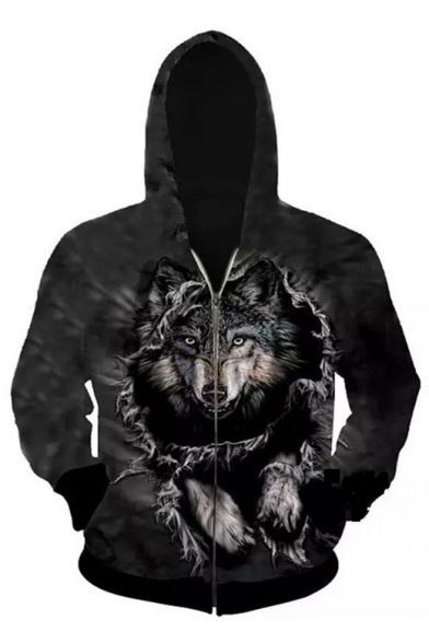 New Fashion 3D Wolf Printed Long Sleeve Casual Zip Up Hoodie