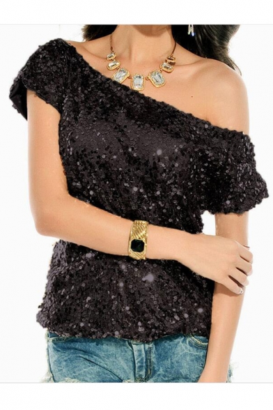New Fashion One Shoulder Short Sleeve Chic Sequined Design Pullover T-Shirt