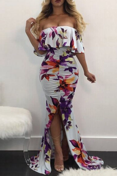 Off Bodycon Ruffle Fishtail The Sexy Printed Split Floral Dress Front Chic Shoulder Maxi Hem SdqtBPnHt