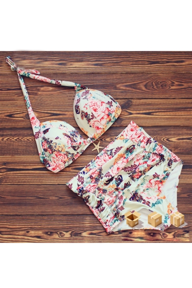 Summer's Floral Printed Halter Neck Push Up High Waist Bottom Bikini Swimwear