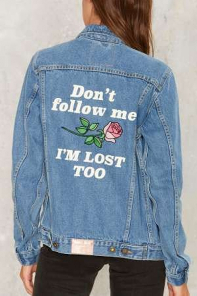 Chic Floral Letter Embroidered Back Lapel Collar Long Sleeve Buttons Down Denim Jacket