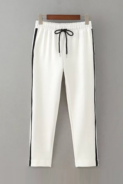 New Arrival Striped Printed Side Elastic Drawstring Waist Sports Pants