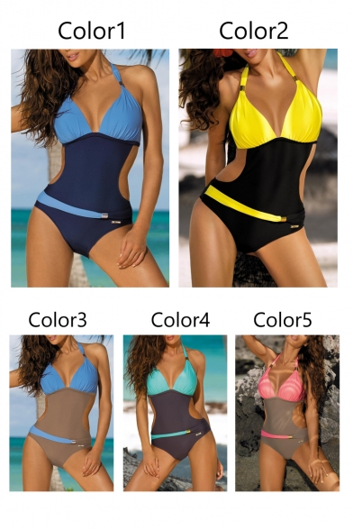 New Halter Cut Out Piece Swimwear One Waist Neck Trendy Color Block AFwnxZq7A