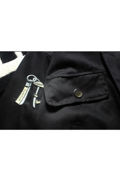 Zip Up Long Jacket for Couple Embroidered Sleeve Collar Casual Lapel Retro xTqA4Y7