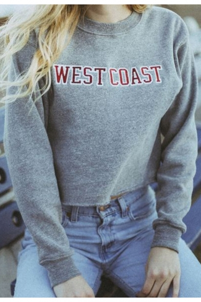 Letter Long Simple Neck Sleeve Basic Crop Printed Sweatshirt Pullover Round pwxvqFg