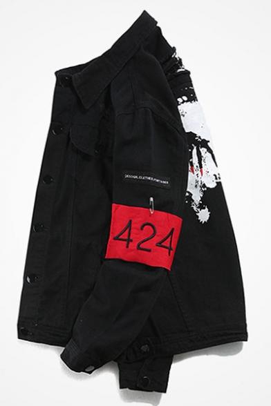 Down Style Long Jacket Collar Printed Retro Denim Sleeve Lapel Street Buttons Letter gYwdqT7qz