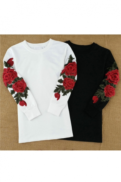 Chic Floral Embroidered Long Sleeve Round Neck Tunic Pullover Sweatshirt