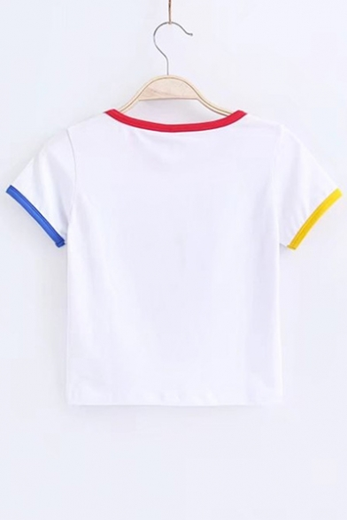 Cropped Round Bodybuilding Short Sports Letter T Shirt Neck Printed Sleeve xqHC1x0Pw
