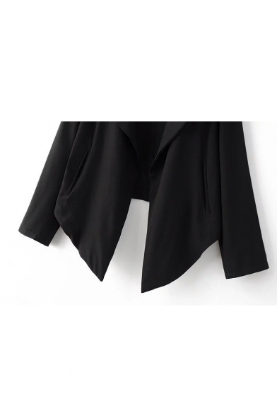 Notched Lapel Collar Long Sleeve Fashion Asymmetrical Hem Plain Blazer Coat