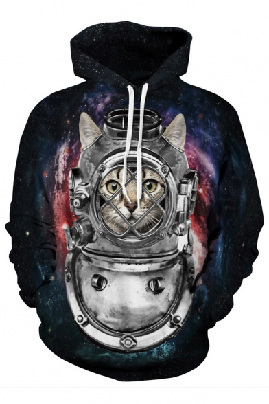 3D Galaxy Robot Cat Pattern Long Sleeve Fashion Casual Hoodie