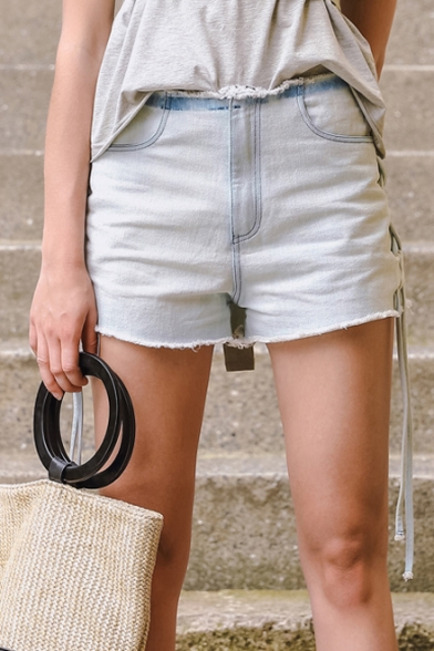 Fashion Lace Up Sides Mid Waist Plain Fringe Hem Denim Shorts