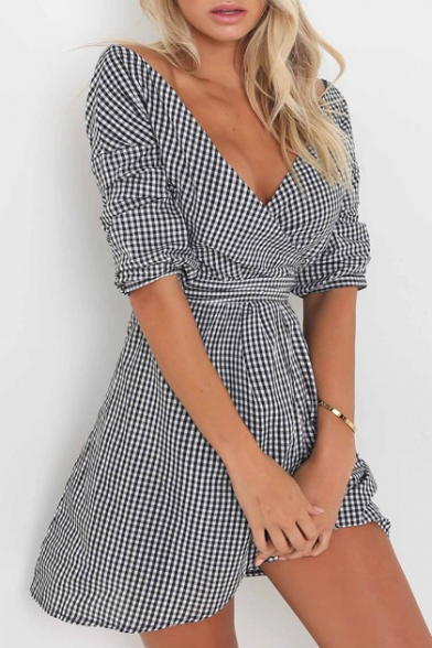 Fashion Plaid Color Block Half Sleeve Wrap V-Neck Belt Waist Asymmetric Dress