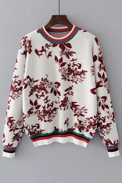 Fashion Rib Jacquard Floral Printed Round Neck Long Sleeve Pullover Sweater  ... 535404e78473