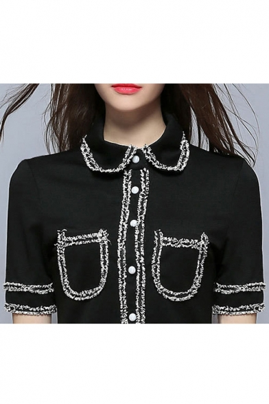 Lapel Collar Short Sleeve Buttons Down Contrast Stitching Mini A-Line Dress