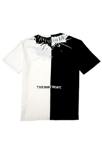 T Sleeve Fashion Neck Shirt Short Block Color New Bat Printed Round Casual HBqxTvx