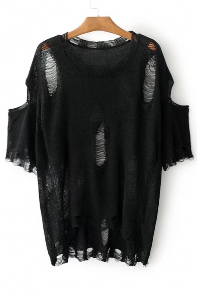 New Fashion Round Neck Short Sleeve Stylish Ripped Hollow Out Plain Sweater