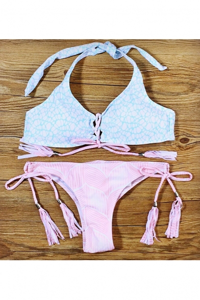 Up String Printed Halter Swimwear Front Lace Neck Bikini Bottom Summer's Floral 0ABwqxX