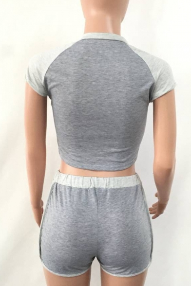 Sports Round with Cropped Shorts Tee Neck Slim Hot Sleeve Short Fashion wHqzEz