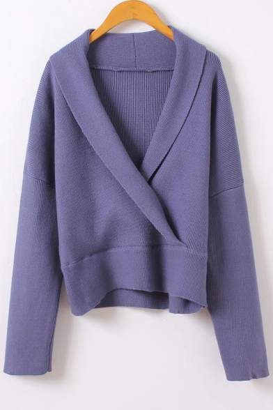 Sleeve Wrap New Sweater Neck V Long Stylish Plain Pullover BXcUzFvcS