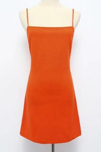Summer's Basic Plain Spaghetti Straps Sleeveless Mini A-Line Slip Dress