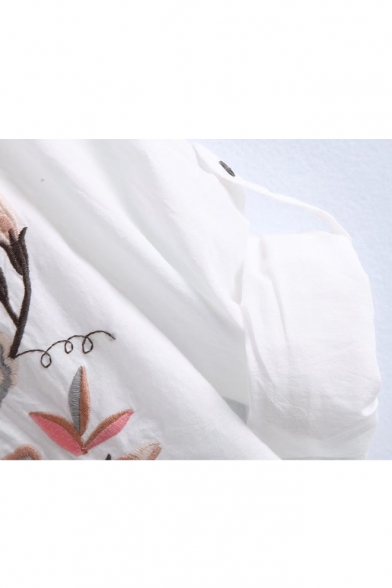 Summer's Chic Floral Embroidered V Neck Long Sleeve Buttons Down Top