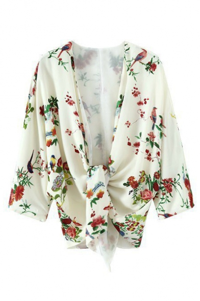 Floral Protection Sleeve Pattern Kimono Top Summer's Sun Batwing 6xOCCdF