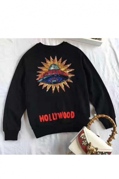Chic Sequined Spaceship Embroidered Round Neck Long Sleeve Pullover Sweatshirt