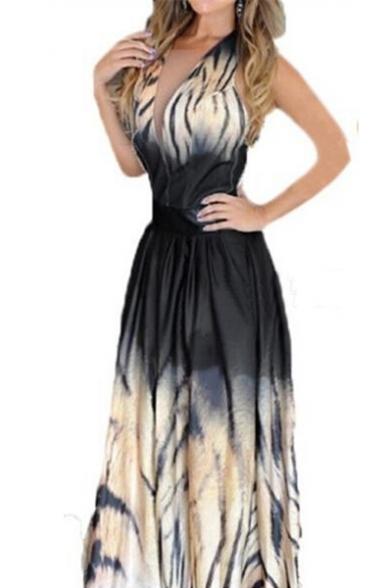 Fashion Tie Dye Tiger Pattern Sexy Plunge Neck Sleeveless Maxi Beach Dress