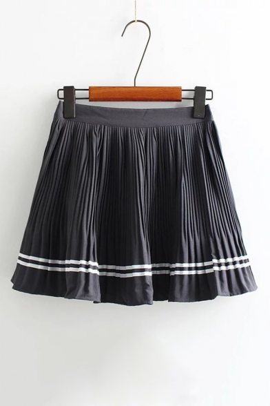 Купить со скидкой High Rise Elastic Waist Summer's Chiffon Mini A-Line Pleated Skirt