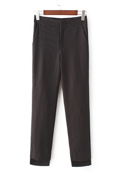 Mid Waist Classic Fashion Striped Printed Skinny Pants with Pockets