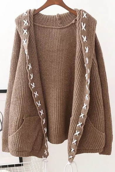 New Arrival Long Sleeve Hooded Open Front Plain Knit Cardigan with Pockets, LC445771, Dark navy;khaki