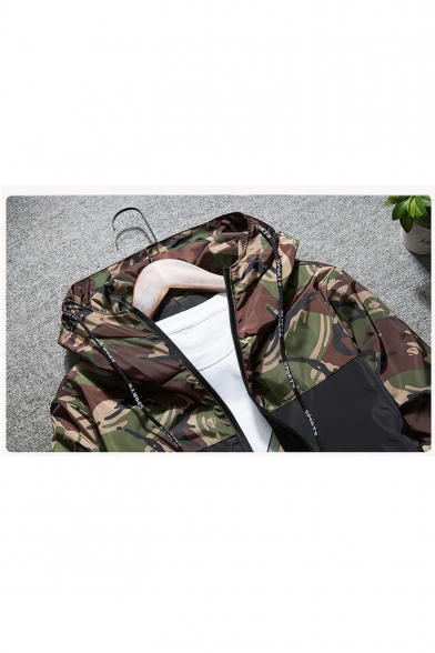 Zip Camouflage Color New Hooded Block Printed Up Fashion Long Sleeve Coat fpwRSPqw