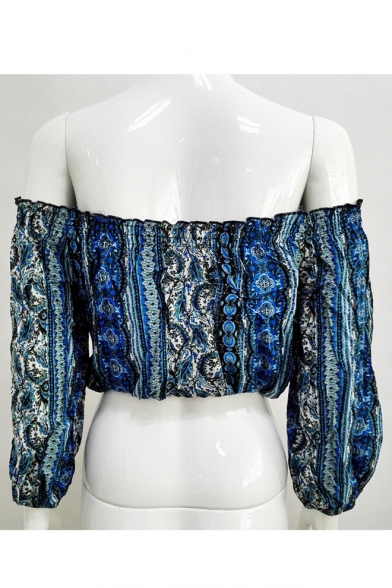 Summer's Off Cropped 3 The Style Shoulder Boho Sleeve 4 Printed Blouse 44w6rxpqF