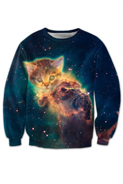 3D Galaxy Cartoon Cat Printed Round Neck Long Sleeve Unisex Sweatshirt