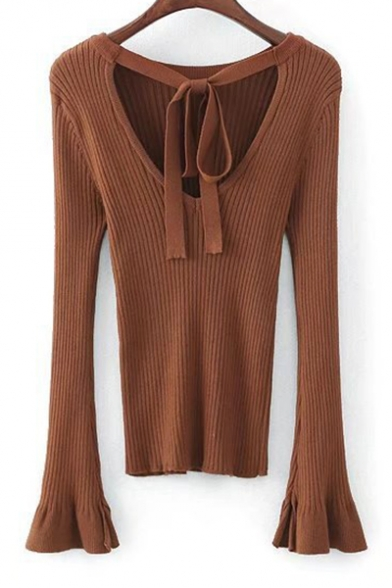 Bow Tie V Back Round Neck Flared Long Sleeve Knit Simple ...