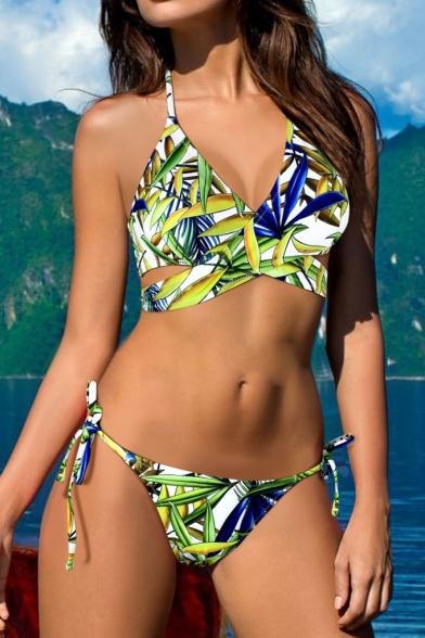 Hot Bottom Halter Neck Swimwear Bikini Printed Summer's Floral String Fashion qOrHBqZ