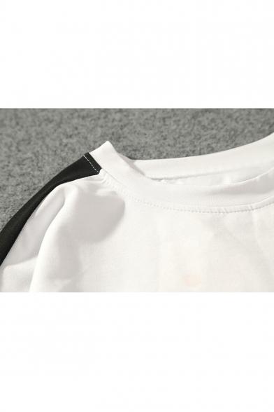Tee Fashion Round Neck Sleeve Stripe Short Korean Hot SwqCE0ZC