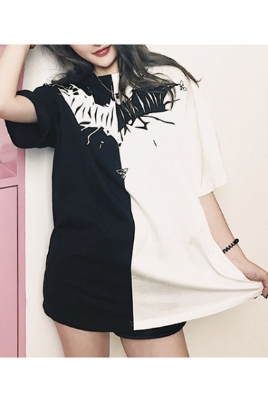 New Fashion Bat Printed Color Block Round Neck Short Sleeve Casual T-Shirt